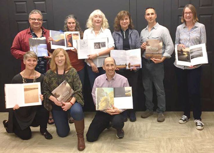 Featured artists join Suzanne at her book signing party. From top left: Marc Bohne, Nadia Hakki, Suzanne Brooker, Victoria Adams, Renato Mucillo. Front row from left: Christine Gedye, Patty Haller, Mitch Albala.