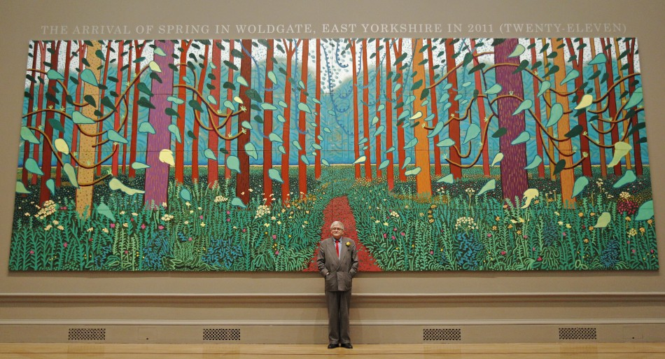 David Hockney at the Royal Academy of Art in London, with The Arrival of Spring at Woldgate