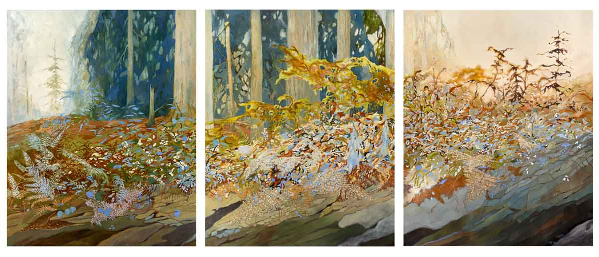 "Memento Vivere | oil on panel, 60 x 48"" each panel, 60 x 146"" as a triptych with 1"" spaceAvailable at Smith and Vallee Gallery, Edison, WA"