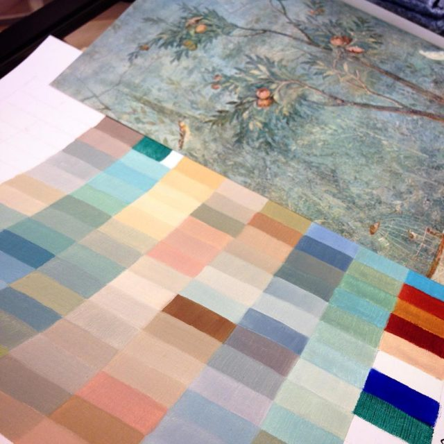 Color chart inspired by a fresco wall Villa of Liviahellip