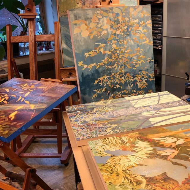 Final polishes on these panel paintings destined for SAM Galleryhellip